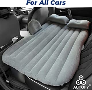 Autofy Multifunctional Car Inflatable Bed Air Travel Mattress With Two Pillows Air Pump Repair Kit For All Cars SUVs Sedan (Grey)