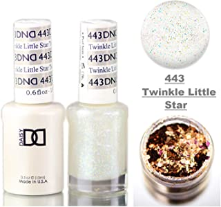 Daisy DND Neutrals Soak Off GEL POLISH DUO, All In One Gel Lacquer + Matching Nail Polish Color for Nails (with bonus side Glitter) Made in USA (Twinkle Little Star (443))