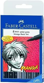 Faber-castell Manga Pitt Artist Pens 8/pkg 5 Shades of Gray 3 Assorted Tip Black 167107