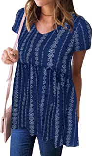 WLLW Women Bohemian Short Sleeve V Neck Floral Print Peplum Shirt Top Blouse Tee