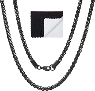 4mm Black Plated Stainless Steel Wheat Chain w/Lobster Claw Clasp + Microfiber Jewelry Polishing Cloth