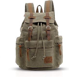 FANDARE Vintage Rucksäcke Schulrucksack Segeltuch Daypacks Ranzen Mädchen Schulranzen für 15.6 Zoll Laptop Taschen Herren Damen Schultasche für Arbeit Wandern Reisen Camping Rucksack Grün