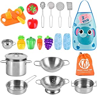 comprar comparacion AMOYEE Juguetes de Cocina para niños, 25 Piezas Juguetes de Chef para Niños, Utensilios de Cocina de Acero Inoxidable, Man...