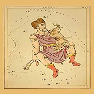 Astronomical chart showing Auriga the Charioteer holding a ram two ewes() and a bridle forming the constellation Poster Pr...