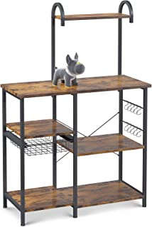 ODK Kitchen Bakers Rack, Utility Storage Shelf Microwave Oven Stand, 3-Tier+4-Tier Coffee Bar Table with 10 S-Shape Hooks,...