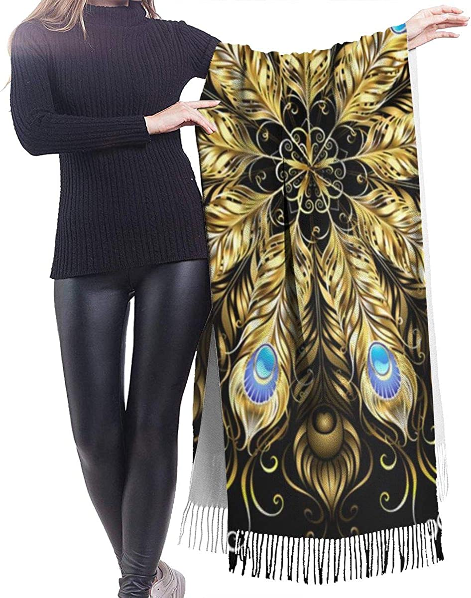 Golden Peacock Feathers Cashmere Shawl Wrap Scarf Large Warm Scarf For Women