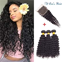 Pineapple Deep Wave Bundles with Closure 10A Brazilian Human Hair Bundles and Closure (22 24 26+18) Virgin Hair 3 Deep Curly Bundles with Lace Closure Free Part
