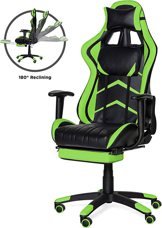 Best Choice Products Ergonomic High Back Executive Office Computer Racing Gaming Chair With 360 Degree Swivel 180 Degree Reclining Footrest Adjustable Armrests Headrest Lumbar Support Green
