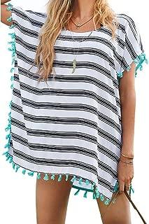 Women's Classic Striped Tassel Chiffon Beachwear Dresses Bikini Swimwear Cover Up