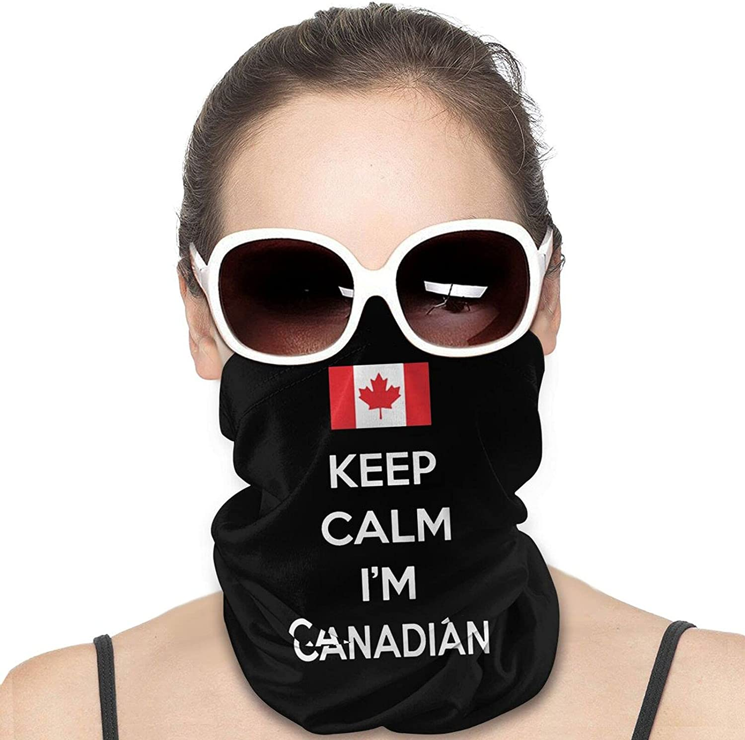 Maple Leaf Canada Day Moose Keep Calm Round Neck Gaiter Bandnas Face Cover Uv Protection Prevent bask in Ice Scarf Headbands Perfect for Motorcycle Cycling Running Festival Raves Outdoors