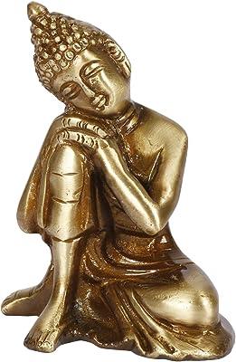 Kartique Brass Resting Buddha Statue Sculpture Idol for Home Decor Vastu Feng Shui Gift Good Luck Idol Table Showpiece Yoga Antique Brown Height 3.75 Inch