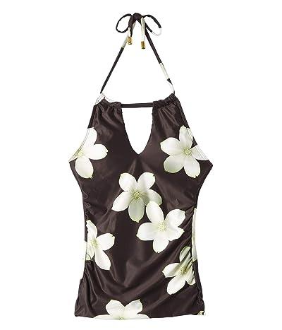 LAUREN Ralph Lauren Villa Floral High Neck Halterkini (Black/White) Women