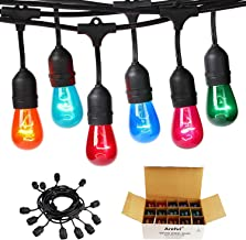 Areful Colored Outdoor String Lights, 24ft Weatherproof Connectable Multicolored Commercial Lighting Strands with 12 Hanging Sockets and 15 S14 Bulbs for Patio Bistro Porch Garden Deck Café or Party