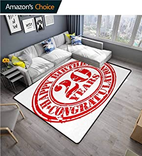 YucouHome 20th Birthday Striped Area Rug Under Table, Happy Birthday for 20 Years Old Worn Grunge Style Stamp Monochrome Image, Fashionable High Class Living Bedroom Rugs(3'x 8') Black and White