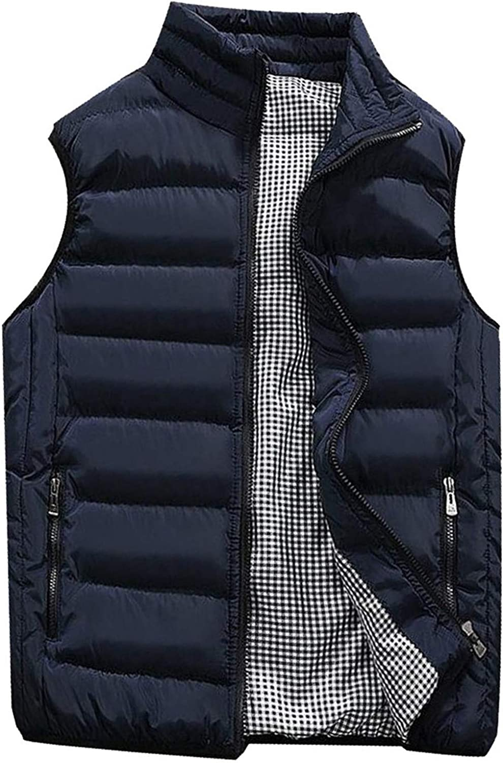 WUAI-Men Winter Warm Outdoor Padded Puffer Vest Thick Water-Resistant Puffer Jacket Sleeveless Cotton Padded Waistcoat