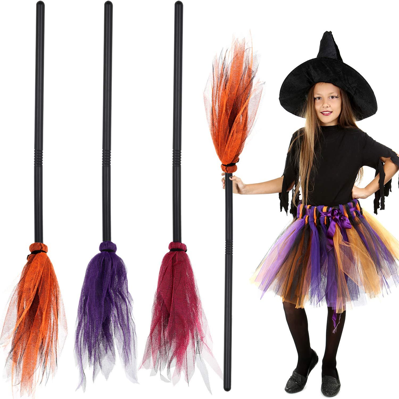 Witches Broom Plastic Stick Halloween Ladies Girls Fancy Dress 142cm Accessory