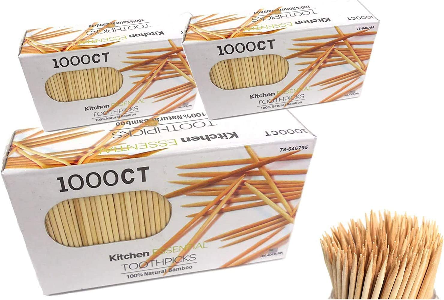 National products 3000 Count 100% Natural Bamboo Kitchen by quality assurance Essential Toothpicks