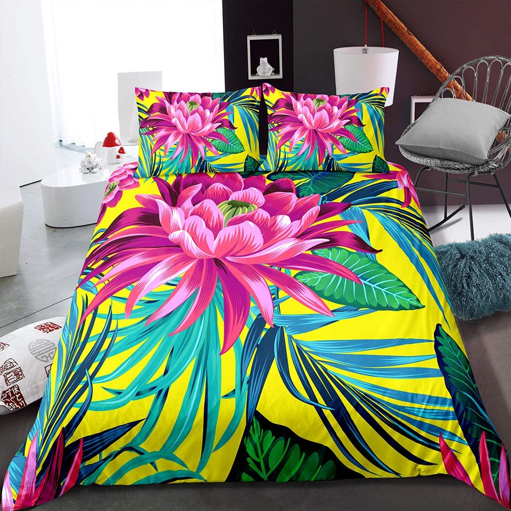 MOUMOUHOME Tropical Plant Duvet Max 49% OFF Cover Pat Floral Watercolor Sets Sales results No. 1