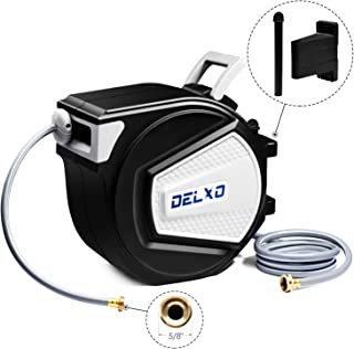 Delxo Hose Reels, 65FT Wall Mounted Retractable Garden Water Hose Reel 5/8 inch Brass Connector 180 Degree Pivot/for Garden Watering, Car Washing