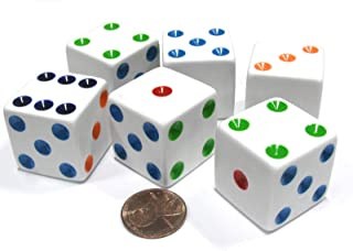 Set of 6 D6 25mm Large Opaque Jumbo Dice - White with Multicolor Pip by Koplow Games