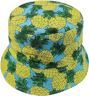 Amosfun Unisex Bucket Hat Summer Fisherman Cap Cute Print Tropical Print Bucket Hat Fruit Pattern Fisherman Hats Summer Re...
