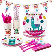 Llama Party Supplies Pack & Tableware Kit Alpaca Birthday Party Set Including Banner, Disposable Paper Plates, Cups, Straws, Knife, Fork, Spoon, and Napkins, Serves 24 Guests 240 PCS
