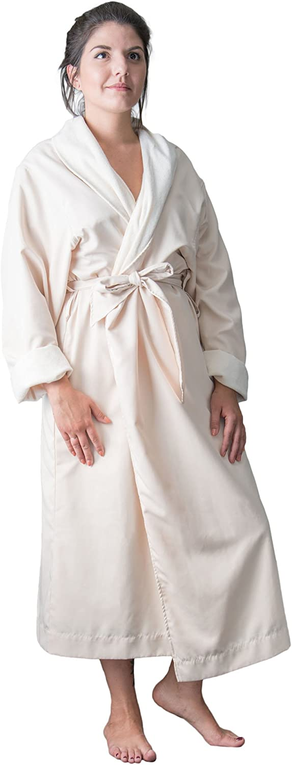 Telegraph Hill Luxury Double Layer Silky Microfiber Spa Bathrobe, Large, Natural Twill