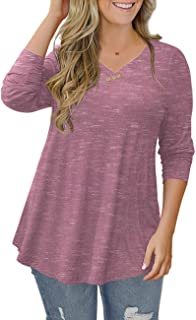 Women's Plus Size Short Sleeve Henley Shirt V Neck Floral...
