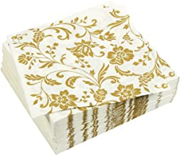100 Pack Dinner Decorative Napkins - Gold Floral Print Disposable Paper Party Napkins, Perfect for Anniversary Decorations, Birthday Party Supplies, 6.5 x 6.5 Inches Folded, Gold and White