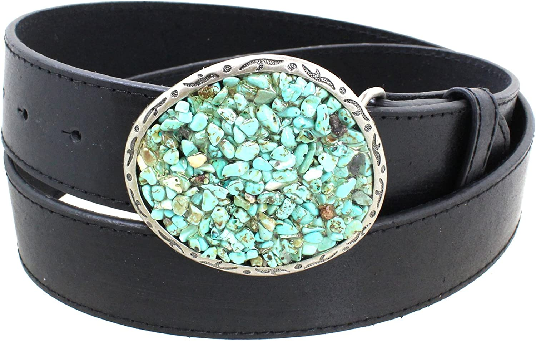 Women's Turquoise Pebble Big Western Belt Buckle Aged Finish Genuine Leather Belt