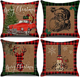 ULOVE LOVE YOURSELF 4pack Merry Christmas Decorative Pillowcases Farmhouse Rustic Buffalo Plaids Throw Cushion Covers Red Truck/Xmas Tree/Deer/Snowman/Santa Claus Square Pillow Covers 18 x 18 Inches