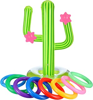 Blulu 9 Piece Inflatable Cactus Ring Toss Game Set Floating Swimming Ring Toss Includes 1 Pieces Inflatable Cactus,8 Pieces Color Inflatable Rings for Fiesta Party Pool Game (9 Piece, Style 1)