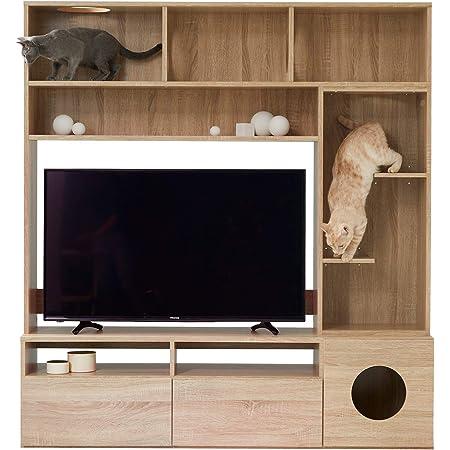 LOWYA ロウヤ 猫 家具 TVボード テレビ台 キャットタワー 壁面 壁面収納 43型 幅150cm ナチュラル