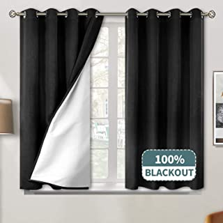 BGment 100% Blackout Curtains for Bedroom, Grommet Jacquard Thermal Insulated Total Room Darkening Curtains for Living Room with Bonded Lining, 2 Panels (Each 52 x 45 Inch, Black)