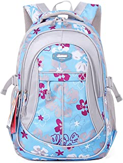 SellerFun Girl Women Flower Printed Waterproof Rucksack Backpack School Bag Bookbag (24L, Blue)