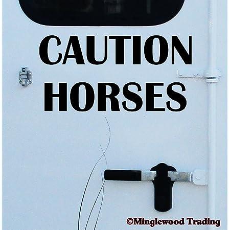 "Minglewood Trading Caution Horses 20"" x 10"" Black Vinyl Decal Sticker - Horse Trailer Show"