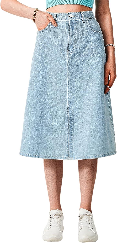 MakeMeChic Women's Pocket Split High Waist A Line Midi Denim Skirt