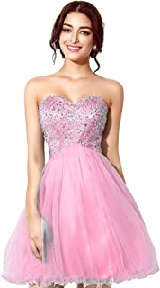Women's Tulle Sequin Short Homecoming Dress Prom Gown