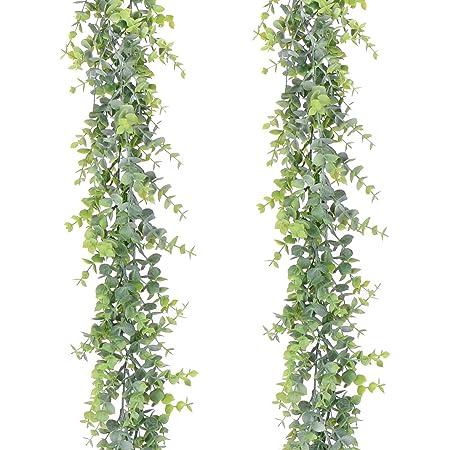 YQing 2 Pièces Artificielle Eucalyptus Guirlande Feuilles d'eucalyptus vignes Faite à la Main Guirlande Mariage Verdure Fond Arch Décoration Murale