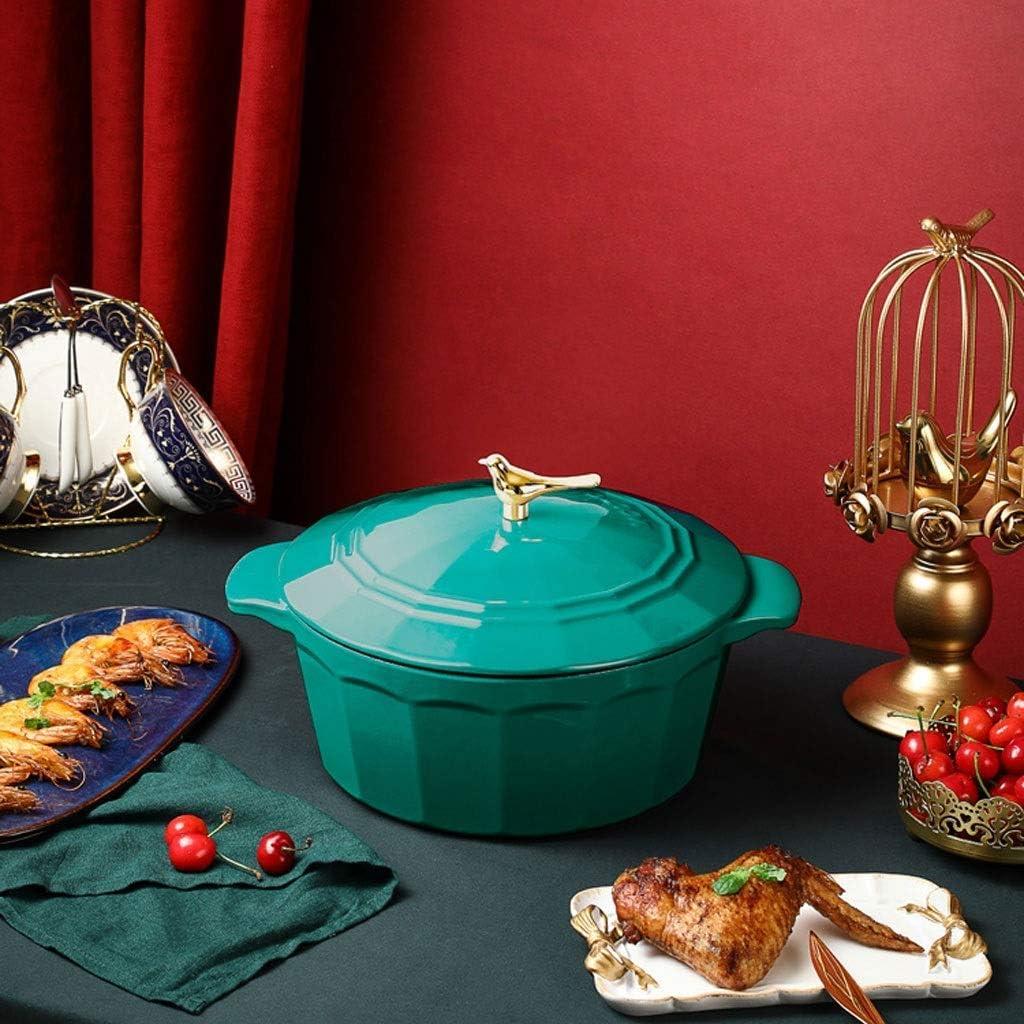 AMYZ Cocotte rectangulaire en Fonte Non revêtue 13cm * 9cm avec Couvercle et Coussin en Bois (Couleur:mélange) Green