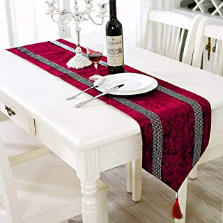 HeMiaor Burgundy Christmas Table Runner 84 Inches Luxury Classy European Dining Table Runner with Tassels for Dresser Coff...