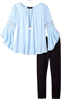 Amy Byer Girls' Bell Sleeve Top and Leggings 2-Piece Set with Necklace