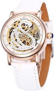 Carrie Hughes Women's Fashion Rhinestone Swan Automatic self-Wind Mechanical Skeleton Leather Watch Gift Box CH241