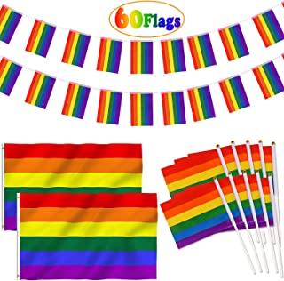 Rainbow Flags Set - 32 Ft LGBT Pride Flag String 38 face - 20pcs Handheld Mini Stick Flag 5x8 inch - 2pcs 3x5 Ft Gay Pride Banner Flags - Fade Resistant Indoor Outdoor Parades Party Decorations