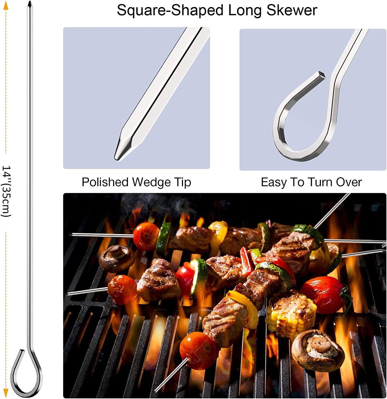 33PCS Metal Kabob Skewers Set with Marshmallow Roasting Sticks Smores Sticks BBQ Forks Morole Skewers for Grilling 16-Inch Reusable Stainless Steel Skewers Set for Meat Chicken Shrimp Vegetable