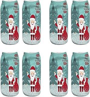 VJGOAL, Mujeres Moda casual Navidad 3D Impreso tejido liso fina impresión Calcetines Lindo tubo corto boca poco profunda baja ayuda calcetines 1 Pairs / 4 Pairs(Un tamaño,Multicolor23)