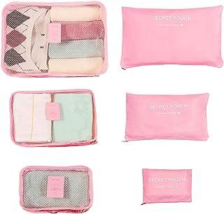 حقائب السفر التعبئة أدوات الزينة ، مجموعة من 6 ، حقيبة سفر ، منظم الأمتعة مكعب ، حقائب تخزين السفر (وردي)
