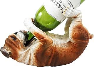 Ebros Lifelike Purebreed Pedigree Canine Adorable American Bulldog Dog Wine Bottle Holder Figurine Statue As Kitchen Wine Cellar Centerpiece Decor Storage Organizer (American Bulldog)