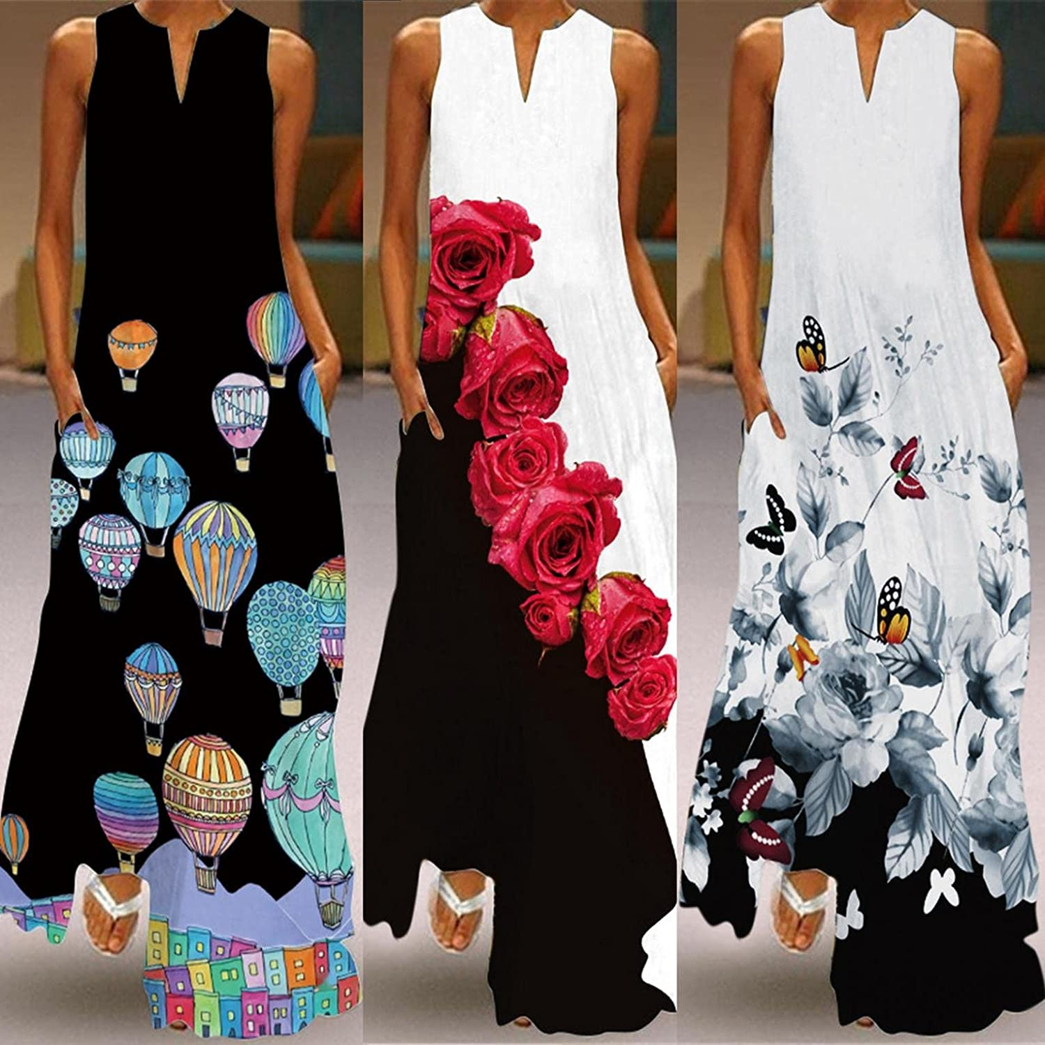 INNOVIERA Dresses for Summer Casual,Women's Plus Size Long Maxi Boho Floral Print V Neck Maxi Dresses with Pockets