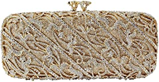 for Party Rhinestone Dinner Bag Lady Handmade Bags Elegant Banquet Clutch Bag Shoulder Chain Bag Dress Hard Shell Gift Wedding (Color : Yellow, Size : M)